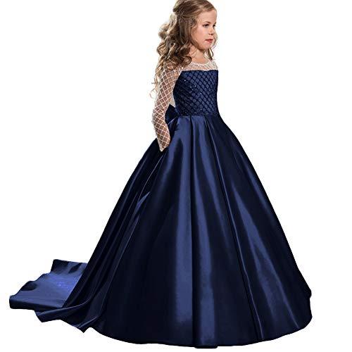 360000d161 LZH Ragazze Vestono Bianchi da Comunione della Festa Nuziale Principessa del  Pizzo Elegante Cerimonia Pageant Costume