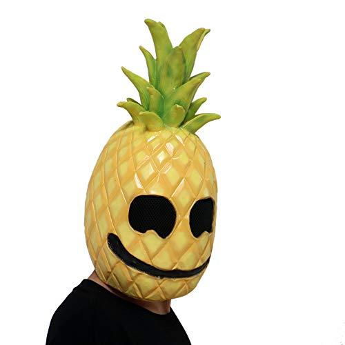 sunnymi Halloween Maske Latex Ananas Gesicht Obst Kopf Maske Horror Cosplay Kostüm (Gelb, 40 * 20cm)