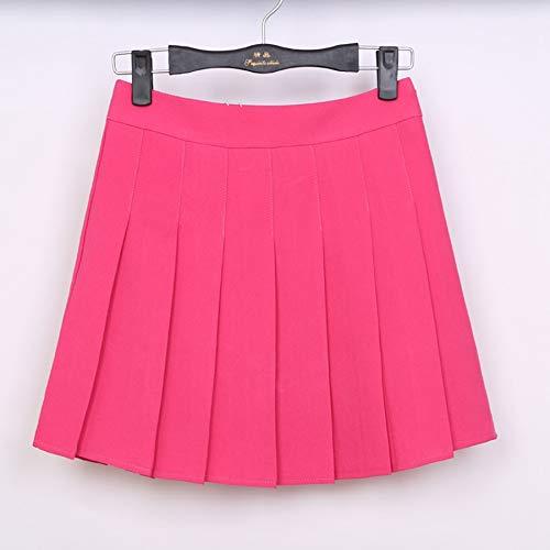 HEHEAB Rock,Rose Rot Feder Hohe Taille Ball Faltenröcke Harajuku Röcke Solid A-Line Sailor Rock Plus Size Japanese School Uniform, XXL -