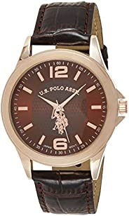 U.S. Polo Assn. Classic Men's USC50201 Rose Gold-Tone Watch with Brown Faux-Leather