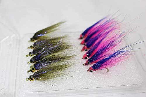 Tigofly 12 Stück Pink Olive UV Polar Fry Langsam Sinking Lachs Forelle Steelhead Minnow Fliegenfischen Fliegen Köder Fliegen-Set Größe #8, Assorted Each 6 pcs, 8 -