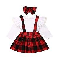 ملابس الأطفال الصغار للبنات الصغار ملابس ذباب الأكمام الدانتيل الأعلى + تنورة منقوشة مريلة + عصابة رأس الزي 3 قطع احمر 1-2T