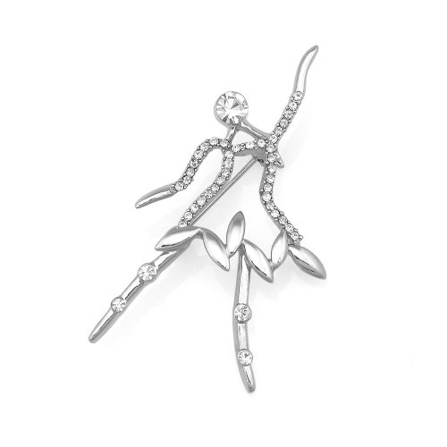 Glamorousky Ballerina Brooch with Silver Austrian Element Crystal (5205)