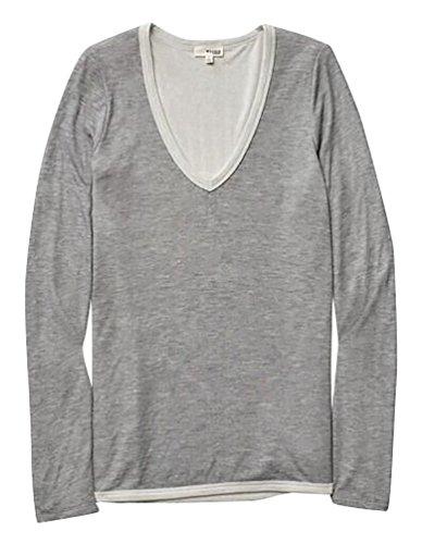 Baymate Damen V Ausschnitt Lässig Bluse Shirt Langarm Tops Grau