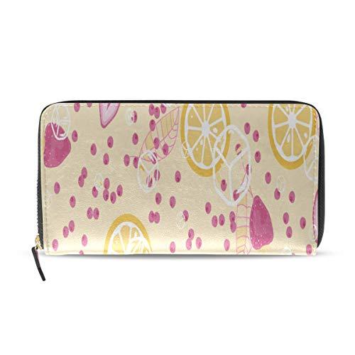 Enhusk Erdbeere Zitrone Obst lange Pass Kupplung Geldbörsen Reißverschluss Brieftasche Fall Handtasche Geld Veranstalter Tasche Kreditkarteninhaber für Dame Frauen Mädchen Männer Reisen Geschenk