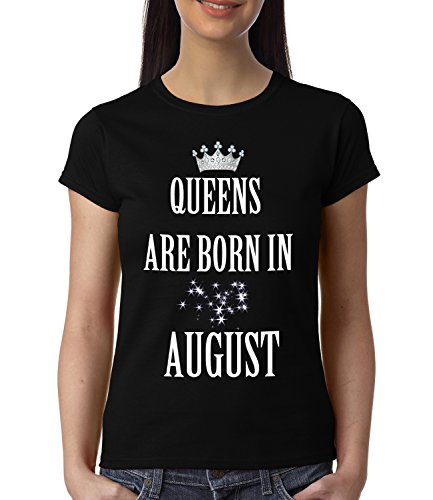 baklol.in Women's Round Neck Printed Birthday T-Shirt/Gifting T-Shirt(Queens are born in August) , Black