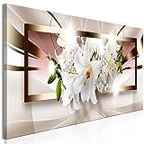 decomonkey Bilder Blumen Abstrakt 150x50 cm 1 Teilig Leinwandbilder Bild auf Leinwand Wandbild Kunstdruck Wanddeko Wand Wohnzimmer Wanddekoration Deko Lilie weiß braun beige