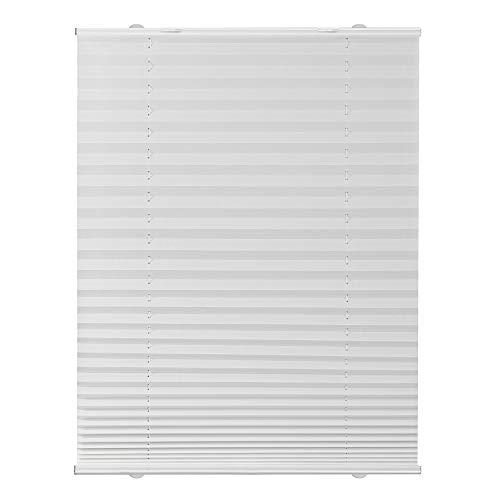 Lichtblick PS.075.130.01 Plissee Haftfix, ohne Bohren Weiß, 75 cm x 130 cm (B x L)