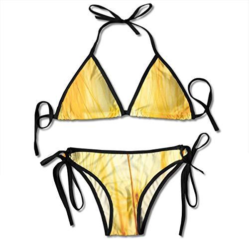 Women's Swimsuit Two Pieces Bikini Set, Joy of Dandelion Flower Garden Seeds In Hot Summer Time Themed Artwork,Swimwear Bathing Suits -