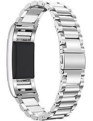 """Fitbit Charge 2 Correa, PEMOTech [Lujo, durabilidad, clásico] Pulsera ajustable de acero inoxidable de reemplazo para el reloj de Fitbit Charge 2, la longitud de muñeca 5.5""""-8.1"""" (140mm-205mm) (Plata)"""