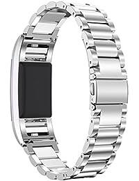 """Fitbit Charge 2 Armband, PEMOTech [luxuriös, strapazierfähig, klassisch] verstellbares Ersatzarmband aus rostfreiem Stahl für Armbanduhr Fitbit Charge 2, Umfang von Handgelenk ist 5.5""""-8.1"""" (140mm-205mm) (Silber)"""