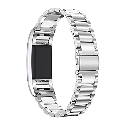Fitbit Charge 2 Band, PEMOTech [Luxury, Durability, Classic] Adjustable Stainless Steel Bracelet Strap Replacement Band for Fitbit Charge 2 Watch Fitness Tracker, Wrist Length 5.5