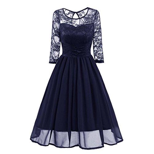 Spitze Abend Party Hochzeitskleid Lässig Dreiviertel-Ärmel Kleid (Pin-up-mädchen, Marine)