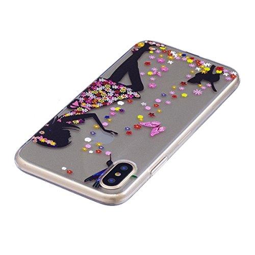 Custodia iPhone X, iPhone X Cover Silicone Trasparente, SainCat Cover per iPhone X Custodia Silicone Morbido, Shock-Absorption Custodia Ultra Slim Transparent Silicone Case Ultra Sottile Morbida Gel C Torre di Safflower