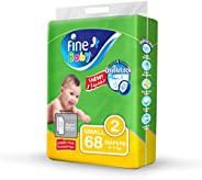 Fine Baby Double Lock, Size 2, Small, 3-6 kg, Jumbo Pack, 68 Diapers