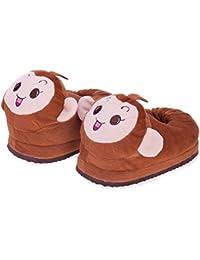 Zanzan Home Slippers Winter Warm Shock Absorption Anti-Slip Memory Foam Brown Monkey Plush Indoor Cotton Drag