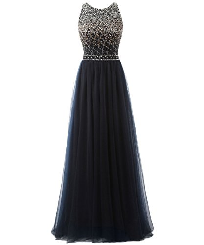 7ca125ed503 Callmelady High Neck Long Prom Dresses For Women Evening   Cocktail Party  (Navy Blue