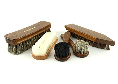 Berckland 5er Pack Schuhbürsten Komplettset–Made in Germany Inklusive Reinigungsbürste - Polierbürsten 2er Set– Glanzbürste – Nubukbürste für Reinigung und Pflege