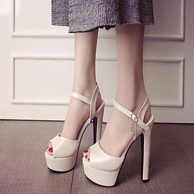 LvYuan Da donna Sandali Finta pelle PU (Poliuretano) Estate Autunno Footing Fibbia Quadrato Bianco Beige Viola Blu Rosa 12 cm e oltre Blue