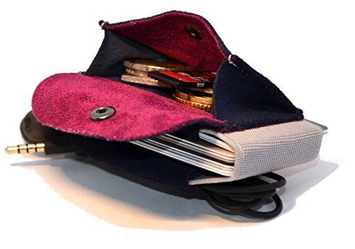Damen Lila Flache Geldbörse (Premium Slim Wallet mit Münzfach & Geldklammer - Mini Portemonnaie für Herren & Damen - Kleine Geldbörse, minimalistisches Kartenetui - Top Grain Leder)
