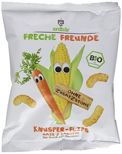 """Freche Freunde Bio Knusper-Flips \""""Mais & Karotte\"""", 10er Pack (10 x 25 g)"""