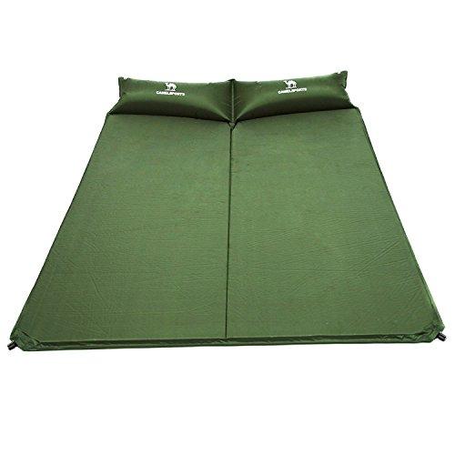CAMEL Double matelas gonflable avec coussins, rembourrage en mousse léger et isolation supérieure pour camper, sac à dos, voyage, pour 2 personnes