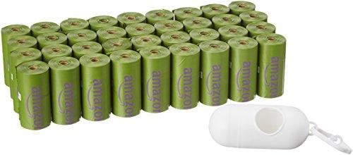 AmazonBasics - Sacchetti igienici per cani con  additivi certificati EPI e dispenser e clip per attacco al guinzaglio, confezione da 540 sacchetti, aroma: lavanda
