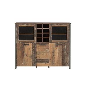 Wohnorama Highboardvitrine ca. 150 cm breit Clif von Forte Old-Wood Vintage/Beton by