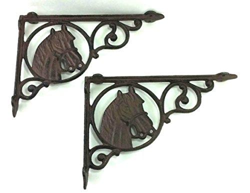 Tante Chris, die Produkte-[Lot/Set of 2]-Horse Regalwinkel-Schweres Gusseisen-Wandhalterung-Innen- oder Außeneinsatz-Schwarz Matt Finish-Old Western Primitiv Design