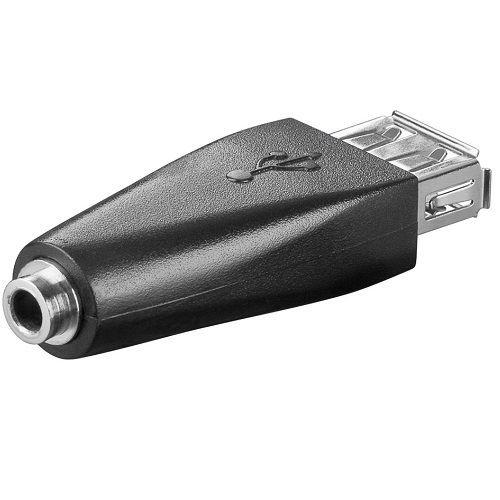 CABLEPELADO Adaptador USB Hembra Jack Hembra Negro