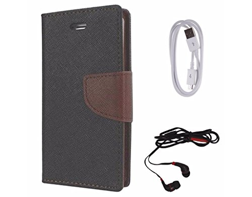 Avzax Diary Look Flip Wallet Case Cover For Letv Le 1S (Black) + Data Cable + In Ear Headphone