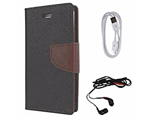 Avzax Diary Look Flip Wallet Case Cover For Samsung Galaxy Mega 5.8 I9152 (Black) + Data Cable + In Ear Headphone