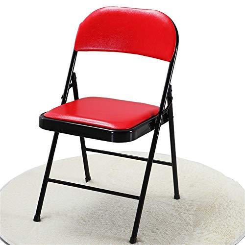 LSLMCS Kunstleder Esszimmerhocker Gepolsterter Schreibtischstuhl Outdoor Freizeithocker Klappbürostuhl/Rot - 1er Pack - Outdoor Rot, Sitzbank