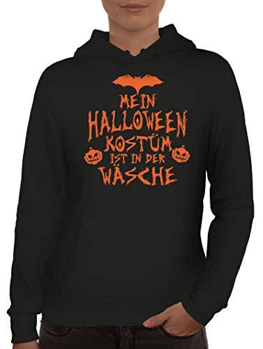 ShirtStreet Grusel Gruppen Damen Hoodie Frauen Kapuzenpullover Mein Halloween Kostüm ist in der Wäsche 3, Größe: L,Schwarz (Halloween-kostüme Frauen Gruppe)