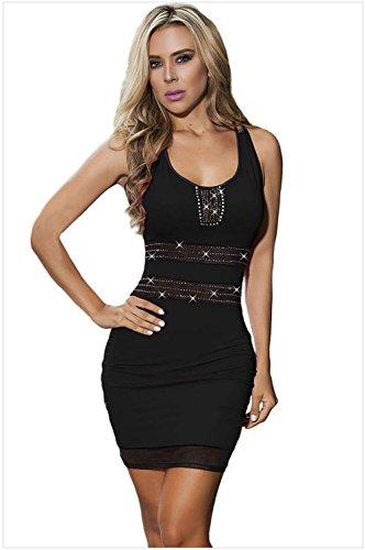 meinice con inserti in maglia Bodycon Mini vestito Black