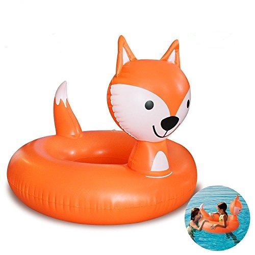 HooYL Kinder Schwimmring,Mini Aufblasbarer Fuchs Schwimm Pool,Fox Pool-Party Schwimmtier Luftmatratze,Fuchs Schwimm Floß Planschbecken Wasserspaß Badespielzeug für Kinder ab 8 Jahren alt