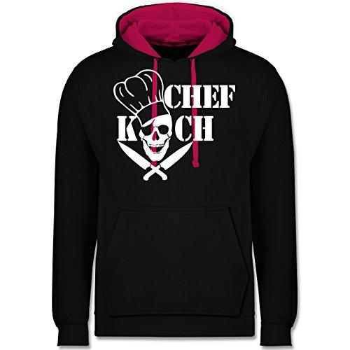 Küche - Chefkoch Totenkopf Skull - Kontrast Hoodie Schwarz/Fuchsia