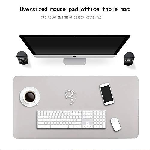 Almohadilla de escritorio de cuero, escritorio de doble uso Estera de juego Alfombrilla de ratón impermeable Alfombra de escritorio portátil Estera de escritorio de oficina (Gris + Plata, 90cm x 45cm)