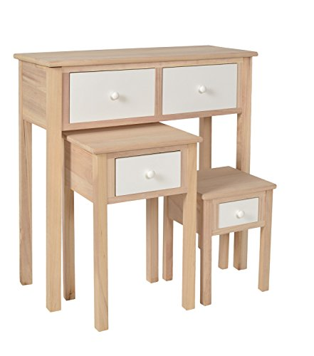 ts-ideen Set 3 tavolini comodini stile Natura color Betulla e BIanco
