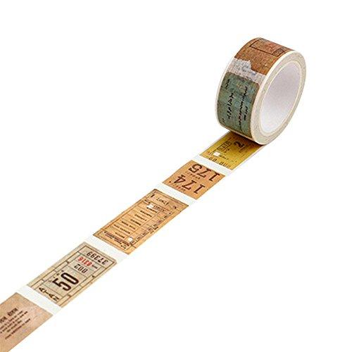 Vintage decorativa Washi–Cinta adhesiva con estampado (cinta de carrocero DIY–recortes de Vinilo, Old Ticket, talla única