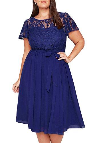 Nemidor Damen Cocktail Kleid Gr. 46, blau A-linie Cocktail-kleid