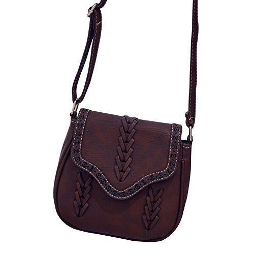 Damen Vintage Kunstleder Kleine Umhängetasche Weben Stil Schultertasche Hohl Muster Messengertasche Dunkelbraun