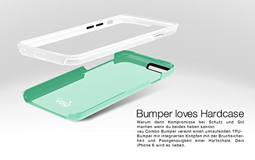 vau iPhone 6 Combo Bumper - grey & black - TPU-Hülle und Hard-Case für Apple iPhone 6 / 6S green & white