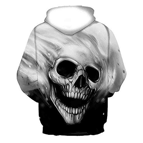 Malloom® Unisex Herren un Damen liebepaare 3D Printed Skull Pullover Langarm mit Kapuze Sweatshirt Tops Bluse (schwarz, (Männer Kostüm Größentabelle)
