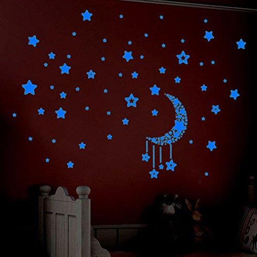 YCANK Set de pegatinas fluorescentes en estrellas que brillan en la pared de los niños en la oscuridad...