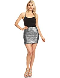 71b5dfdea84ea8 Anna-Kaci Vegas Night Out Sleek & Sexy Stretch Bandage Sequin Mini Pencil  Skirt