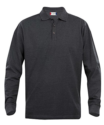 Herren lange Ärmel Polo Shirt, Baumwolle, klassischer Schnitt, mittleres Gewicht, 11Farben XS, 5x l Grau - Anthracite Melange