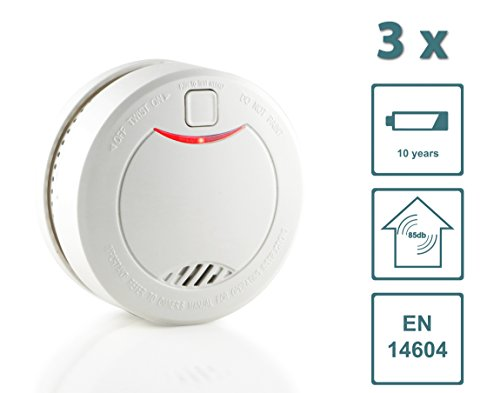 Slabo Rauchmelder / Feuermelder / Brandmelder mit 10 Jahres-Batterie und fotoelektrischen Sensor – WEISS - 3er Set