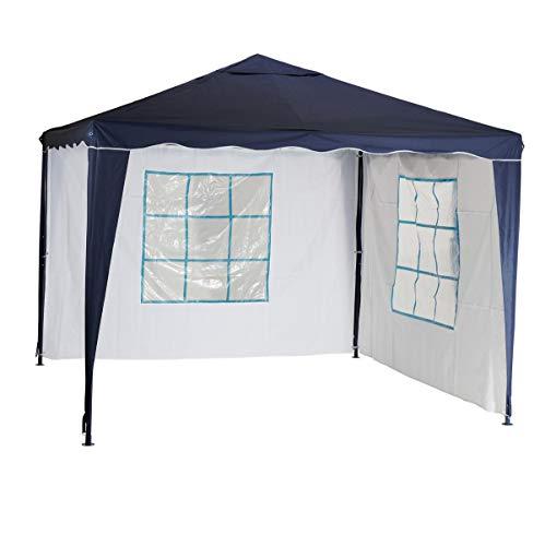 Silvertree Pavillonset Tim | 3 x 3 m | 2 Seitenteile | blau / weiss | Partyzelt | Gartenzelt | Festzelt | Camping | wasserabweisend