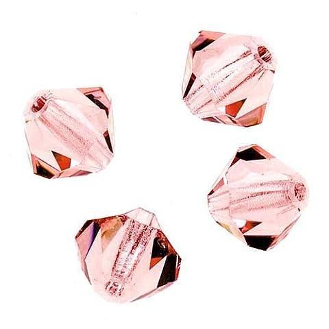 Czech Crystal Glass Beads 6mm Bicone 'Light Rose' Pink (20)